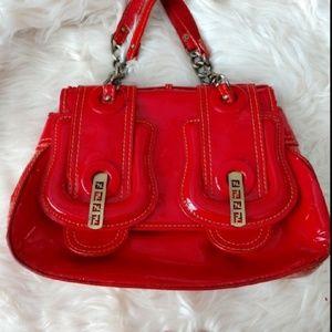 Authentic Red Fendi Handbag Purse Shoulder Bag